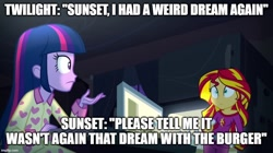 Size: 896x500 | Tagged: safe, edit, edited screencap, screencap, sunset shimmer, twilight sparkle, alicorn, human, equestria girls, rainbow rocks, caption, clothes, duo, food, image macro, pajamas, text, twilight sparkle (alicorn), whipped cream
