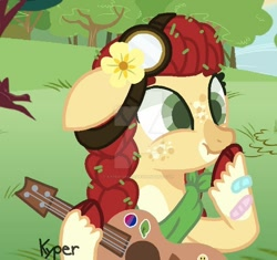 Size: 600x563 | Tagged: safe, artist:kandybases, artist:kyper-space, apple bloom, earth pony, pony, bandaid, bandana, base used, female, filly, flower, flower in hair, freckles, goggles, guitar, musical instrument, redesign, solo