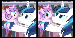 Size: 496x253   Tagged: safe, artist:dm29, princess flurry heart, shining armor, alicorn, pony, unicorn, baby, baby pony, cropped, diaper, duo, grin, he knows, holding a baby, holding a pony, hoof hold, looking at each other, looking back, serious, serious face, shining armor is not amused, smiling, spread wings, unamused, wings