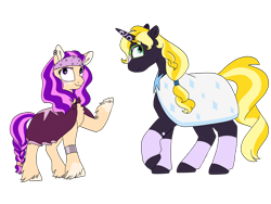 Size: 1280x960 | Tagged: safe, artist:doodletheexpoodle, oc, oc:daylight amethyst, oc:northern star, earth pony, pony, unicorn, brother and sister, cloak, clothes, duo, female, fraternal twins, glasses, headband, male, offspring, parent:sunburst, parent:twilight sparkle, parents:twiburst, siblings, simple background, transparent background, twins, unshorn fetlocks