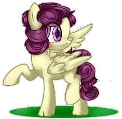 Size: 700x683 | Tagged: safe, artist:midnightmusic, oc, oc:starfruit fritter, pegasus, pony, base used, blushing, commission, female, grass, happy, looking back, mare, simple background, solo, standing, transparent background, wings, ych result