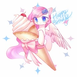 Size: 1080x1080 | Tagged: safe, artist:leafywind, oc, oc only, oc:leafy, pegasus, pony, blue eyes, cherry, female, flower, flower in hair, food, happy birthday, ice cream, mare, smiling, solo, spread wings, starry eyes, wingding eyes, wings