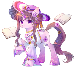 Size: 2500x2200 | Tagged: safe, artist:leafywind, oc, oc only, pony, unicorn, book, colored horn, ear piercing, female, flower, flower in hair, horn, jewelry, mare, pendant, piercing, purple eyes, raised hoof, simple background, solo, transparent background