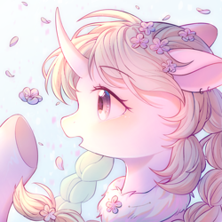 Size: 1800x1800 | Tagged: safe, artist:leafywind, oc, oc only, pony, unicorn, blushing, braid, bust, clothes, curved horn, ear piercing, earring, female, floppy ears, flower, flower in hair, horn, jewelry, mare, open mouth, piercing, portrait, profile, solo, starry eyes, surprised, underhoof, wingding eyes