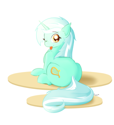 Size: 2000x2200 | Tagged: safe, artist:cheshiresdesires, lyra heartstrings, pony, unicorn, female, looking at you, looking back, looking back at you, mare, one eye closed, simple background, solo, tongue out, white background, wink