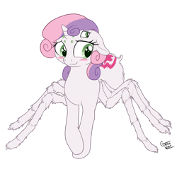 Size: 1200x1147 | Tagged: safe, artist:deserter, artist:gracewolf, color edit, edit, editor:deserter, sweetie belle, monster pony, original species, spiderpony, unicorn, adoracreepy, bashful, blushing, colored, creepy, cute, cutie mark, diasweetes, hair over one eye, simple background, solo, species swap, transparent background