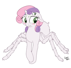 Size: 1200x1147 | Tagged: safe, alternate version, artist:deserter, artist:gracewolf, color edit, edit, editor:deserter, sweetie belle, monster pony, original species, spiderpony, unicorn, adoracreepy, bashful, blushing, colored, creepy, cute, diasweetes, hair over one eye, i can't believe it's not badumsquish, simple background, solo, species swap, transparent background