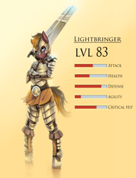 Size: 2200x2886 | Tagged: safe, artist:fruitbloodmilkshake, oc, oc only, anthro, earth pony, unguligrade anthro, armor, solo, stats, sword, weapon