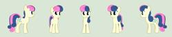 Size: 5925x1280 | Tagged: safe, artist:tritebristle, bon bon, sweetie drops, pony, 3d, blender, simple background, solo