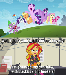 Size: 640x720 | Tagged: safe, edit, edited screencap, screencap, applejack, fluttershy, pinkie pie, rainbow dash, rarity, spike, starlight glimmer, sunset shimmer, equestria girls, rainbow rocks, the cutie re-mark, bender bending rodriguez, caption, futurama, image macro, meme, sunset vs starlight debate, text
