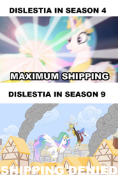 Size: 780x1155 | Tagged: safe, artist:piemations, edit, edited screencap, screencap, discord, princess celestia, alicorn, draconequus, friendship is violence, season 4, season 9, twilight's kingdom, spoiler:s09, blood, dislestia, female, male, murder, shipping, shipping denied, straight