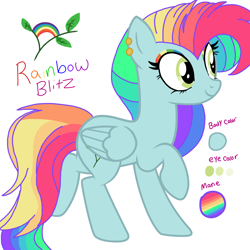 Size: 3200x3200 | Tagged: safe, artist:circuspaparazzi5678, oc, oc:rainbow blitz, pegasus, pony, base used, cutie mark, ear piercing, earring, eyeshadow, jewelry, makeup, multicolored hair, parent:fluttershy, parent:rainbow dash, piercing, rainbow hair, rainbow makeup, reference sheet, solo