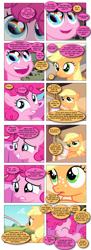 Size: 868x2394 | Tagged: safe, artist:dziadek1990, edit, edited screencap, screencap, applejack, pinkie pie, the cutie mark chronicles, comic, conversation, cute, daaaaaaaaaaaw, dialogue, requested art, screencap comic, slice of life, sonic rainboom, text, wholesome