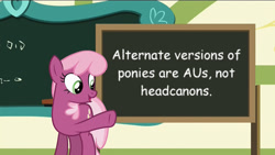 Size: 1920x1080 | Tagged: safe, cheerilee, pony, cheerilee's chalkboard, comic sans, debate in the comments, female, mouthpiece, solo