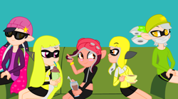 Size: 3200x1776 | Tagged: safe, artist:chlaneyt, artist:diamond-chiva, human, inkling, equestria girls, agent 3 (splatoon), agent 4 (splatoon), agent 8 (splatoon), barely eqg related, base used, clothes, crossover, equestria girls style, equestria girls-ified, food, glasses, inkling girl, milkshake, nintendo, octo expansion, octoling, splatoon, splatoon 2, squid sisters, tea