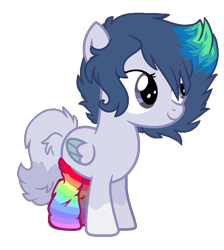 Size: 770x860 | Tagged: safe, artist:spectrumnightyt, oc, oc only, pegasus, pony, clothes, female, filly, rainbow socks, simple background, socks, solo, striped socks, transparent background