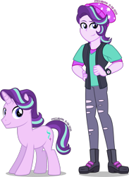 Size: 2091x2849 | Tagged: safe, artist:stellardusk, starlight glimmer, pony, equestria girls, beanie, clothes, cute, cutie mark, equestria guys, handsome, hat, high res, human ponidox, pants, rule 63, self paradox, self ponidox, simple background, smiling, solo, stellar gleam, transparent background, vest, watch, wristwatch