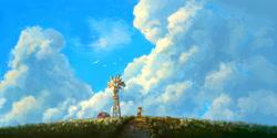 Size: 2161x1080 | Tagged: safe, artist:plainoasis, applejack, bird, earth pony, pony, applejack's hat, barn, cloud, cowboy hat, digital art, female, hat, mare, scenery, scenery porn, solo, stetson, sweet dreams fuel, windmill