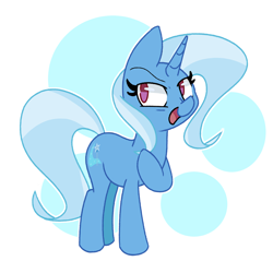 Size: 2500x2500 | Tagged: safe, artist:kindakismet, trixie, pony, unicorn, abstract background, female, high res, mare, no pupils, open mouth, solo