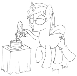 Size: 983x970 | Tagged: safe, artist:parclytaxel, oc, oc only, oc:nova spark, monster pony, original species, pony, tatzlpony, unicorn, series:nightliner, birthday cake, cake, candle, cute, cute little fangs, fangs, female, food, glasses, lineart, mare, monochrome, pencil drawing, raised hoof, raised leg, smiling, solo, tail maw, traditional art