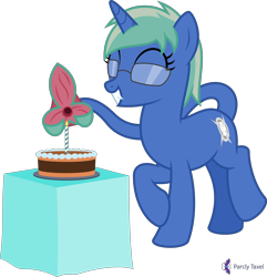 Size: 4000x4151 | Tagged: safe, artist:parclytaxel, oc, oc only, oc:nova spark, monster pony, original species, pony, tatzlpony, unicorn, .svg available, absurd resolution, birthday cake, cake, candle, cute, cute little fangs, excited, fangs, female, food, glasses, mare, simple background, smiling, solo, tail maw, transparent background, vector