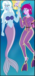 Size: 656x1412 | Tagged: safe, artist:physicrodrigo, fuchsia blush, lavender lace, trixie, mermaid, equestria girls, cropped, trixie and the illusions
