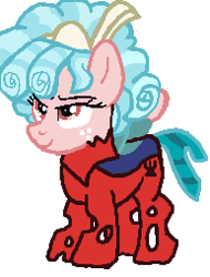 Size: 193x254 | Tagged: safe, artist:qjosh, cozy glow, changeling, changelingified, red changeling, solo, species swap, transformation, transformation sequence