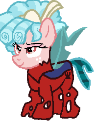 Size: 196x250 | Tagged: safe, artist:qjosh, cozy glow, changeling, pony, changelingified, red changeling, solo, species swap, transformation, transformation sequence