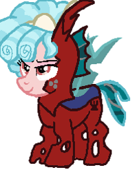 Size: 201x252 | Tagged: safe, artist:qjosh, cozy glow, changeling, pony, changelingified, red changeling, solo, species swap, transformation, transformation sequence