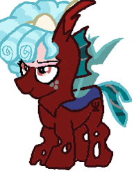 Size: 197x251 | Tagged: safe, artist:qjosh, cozy glow, changeling, changelingified, red changeling, solo, species swap, transformation, transformation sequence