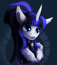 Size: 3500x4000 | Tagged: safe, artist:mithriss, oc, oc:coldlight bluestar, pony, unicorn, bodysuit, bust, clothes, collar, fur, glossy, latex, latex suit, makeup, ponytail, rubber, rubber suit, scarf, shiny, solo, suit