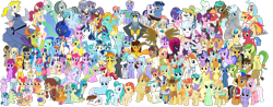 Size: 2500x980 | Tagged: safe, artist:90sigma, artist:bluemeganium, artist:chainchomp2 edit, artist:cheezedoodle96, artist:cloudyglow, artist:dashiesparkle, artist:floppychiptunes, artist:iknowpony, artist:jawsandgumballfan24, artist:jhayarr23, artist:thatguy1945, artist:tomfraggle, artist:vector-brony, amethyst star, apple bloom, apple fritter, apple honey, apple tarty, applejack, appointed rounds, aunt holiday, auntie lofty, azure velour, berry punch, berryshine, big macintosh, biscuit, bon bon, bow hothoof, braeburn, captain celaeno, carrot cake, carrot top, cayenne, cheese sandwich, citrus blush, clear sky, cloud kicker, cloudchaser, coloratura, cookie crumbles, cucumber seed, cup cake, daisy, daring do, derpy hooves, diamond tiara, dj pon-3, doctor whooves, double diamond, feather bangs, fire flare, fire streak, fleetfoot, flitter, flower wishes, fluttershy, gabby, gallus, gentle breeze, gilda, golden harvest, helia, high winds, hondo flanks, hoofer steps, iron will, ivory, ivory rook, junebug, kettle corn, lemon hearts, lighthoof, lightning bolt, lightning dust, lily, lily love, lily valley, limestone pie, linky, lyra heartstrings, mane allgood, marble pie, matilda, maud pie, mayor mare, minuette, misty fly, mixed berry, mocha berry, moondancer, night glider, noi, north point, ocellus, octavia melody, parasol, pinkie pie, pipsqueak, posey shy, pound cake, pretzel twist, princess cadance, princess celestia, princess ember, princess luna, princess skystar, pumpkin cake, quibble pants, rainbow dash, rainy day, rarity, roseluck, rumble, sandbar, scootaloo, sea swirl, seafoam, shimmy shake, shining armor, shoeshine, silver spoon, silverstream, skeedaddle, smolder, snap shutter, soarin', sparkler, spike, spitfire, spring melody, sprinkle medley, spur, starlight glimmer, sugar belle, sunny delivery, sunshower raindrops, surprise, sweet biscuit, sweetie belle, sweetie drops, tempest shadow, tender taps, terramar, thorax, thunderlane, time turner, trixie, tulip swirl, 