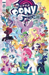 Size: 2063x3131 | Tagged: safe, artist:tonyfleecs, idw, angel bunny, apple bloom, applejack, derpy hooves, fizzlepop berrytwist, flash magnus, fluttershy, gallus, gummy, meadowbrook, mistmane, ocellus, owlowiscious, pinkie pie, princess cadance, princess celestia, princess flurry heart, princess luna, rainbow dash, rarity, rockhoof, sandbar, scootaloo, shining armor, silverstream, smolder, somnambula, spike, star swirl the bearded, starlight glimmer, stygian, sweetie belle, tank, tempest shadow, trixie, twilight sparkle, yona, alicorn, alligator, bird, changedling, changeling, classical hippogriff, dragon, earth pony, griffon, hippogriff, owl, pegasus, pony, rabbit, tortoise, unicorn, yak, my little pony: the movie, spoiler:comic, spoiler:comic88, :p, animal, armor, baby, baby pony, bow, broken horn, cloven hooves, colored hooves, comic cover, confetti, cover, cowboy hat, cutie mark crusaders, dragoness, everypony, female, filly, fire, fire breath, firebreathing, flying, hair bow, hat, helmet, high res, horn, jewelry, male, mane seven, mane six, mare, monkey swings, necklace, official comic, pillars of equestria, royal family, smiling, stallion, student six, teenager, tongue out, twilight sparkle (alicorn), unshorn fetlocks, wall of tags, winged spike