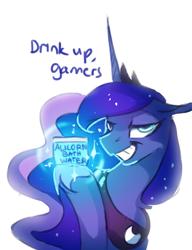 Size: 823x1070 | Tagged: safe, artist:anticular, princess luna, alicorn, pony, gamer luna, bath water, female, gamer girl bath water, mare, meme, simple background, smug, smugluna, white background