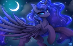Size: 3126x2000 | Tagged: safe, artist:ask-colorsound, nightmare moon, princess luna, alicorn, pony, cloud, crescent moon, ethereal mane, female, flying, high res, looking at you, mare, missing accessory, moon, night, night sky, nightmare luna, signature, sky, slit eyes, solo, spread wings, starry mane, starry night, starry tail, wavy mane, wings