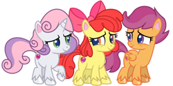 Size: 1024x512 | Tagged: safe, artist:emeraldblast63, apple bloom, scootaloo, sweetie belle, earth pony, pegasus, pony, unicorn, disappearing act, my little pony: pony life, pony life, cutie mark, cutie mark crusaders, female, filly, g4.5 to g4, redesign, simple background, the cmc's cutie marks, transparent background, trio, trio female, vector