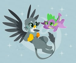Size: 1081x900 | Tagged: safe, artist:snow angel, gabby, spike, dragon, griffon, dragon dropped, cute, duo, female, gabbybetes, lineless, male, open mouth, smiling, spikabetes, winged spike