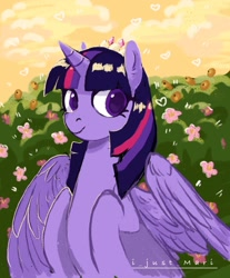 Size: 896x1080 | Tagged: safe, artist:marichan29, twilight sparkle, alicorn, pony, colored pupils, crown, cute, female, flower, heart, heart eyes, jewelry, mare, regalia, solo, twiabetes, twilight sparkle (alicorn), wingding eyes