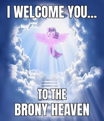 Size: 1384x1600 | Tagged: safe, edit, twilight sparkle, alicorn, pony, the ending of the end, a man can dream, beautiful, brony heaven, bronybait, caption, cloud, cozy, divine, female, floating, game over, good end, heaven, horn, image macro, kingdom of heaven, light, looking at you, mare, meme, reality sucks, rest in peace, scenery, sky, smiling, smiling at you, solo, spread hooves, spread wings, sun ray, text, twilight sparkle (alicorn), welcome, windswept mane, wings