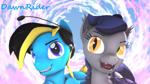 Size: 3840x2160 | Tagged: safe, artist:dawnyr, oc, oc:dawnrider, oc:echo, bat pony, pegasus, 3d, cloud, duo, source filmmaker