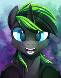 Size: 1820x2336 | Tagged: safe, artist:breioom, oc, oc only, oc:vortex zero, horse, pony, unicorn, abstract background, bust, commission, cute, fluffy, male, open mouth, painting, portrait, smiling at you, solo, stallion, underhoof