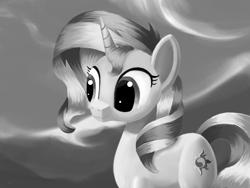 Size: 4000x3000 | Tagged: safe, artist:flusanix, sunset shimmer, pony, unicorn, female, grayscale, mare, monochrome, solo