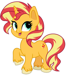 Size: 4600x5200 | Tagged: safe, artist:emeraldblast63, artist:tsaoshin, sunset shimmer, pony, unicorn, cute, female, mare, redesign, shimmerbetes, simple background, solo, transparent background, unshorn fetlocks
