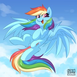 Size: 3000x3000 | Tagged: safe, artist:ask-colorsound, rainbow dash, pegasus, pony, cloud, cute, dashabetes, female, flying, high res, leg fluff, looking at you, sky, smiling, smiling at you, solo, spread wings, wings