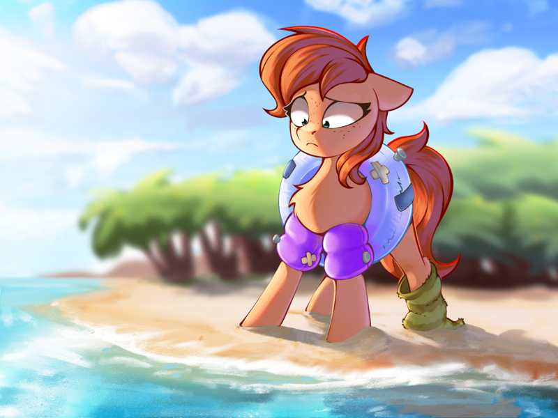 Size: 1507x1130   Tagged: safe, artist:rexyseven, oc, oc only, oc:rusty gears, earth pony, pony, beach, chest fluff, clothes, earth pony oc, featured image, female, floaty, floppy ears, frown, heterochromia, inflatable, looking down, mare, ocean, scared, scenery, shrunken pupils, socks, solo, striped socks, tree, water, water wings