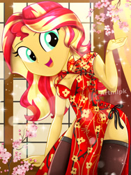 Size: 1800x2397 | Tagged: safe, artist:artmlpk, blossom, sunset shimmer, equestria girls, adorable face, adorasexy, adorkable, bare chest, beautiful, button, cherry, cherry blossoms, chinese, clothes, curtains, cute, dork, dress, female, flower, flower blossom, food, hips, lens flare, looking at you, open mouth, plant, red dress, sexy, smiling, smiling at you, socks, solo, thigh, thigh highs, thighs, tree, watermark