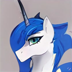 Size: 1024x1024 | Tagged: safe, artist:thisponydoesnotexist, oc, oc only, pony, unicorn, female, gray background, looking at you, mare, neural network, simple background