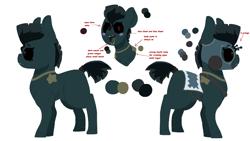 Size: 1920x1080 | Tagged: safe, artist:nootaz, oc, oc only, pony, undead, zombie, zombie pony, jojo's bizarre adventure, reference sheet, simple background, solo, transparent background
