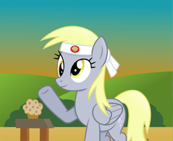Size: 3575x2919 | Tagged: safe, artist:anime-equestria, derpy hooves, pegasus, pony, brick, bush, cutie mark, female, food, headband, hill, karate, kung fu, mare, muffin, smiling, solo, sunrise, wings, wood