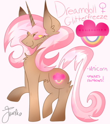 Size: 800x900 | Tagged: safe, artist:junko, oc, oc only, oc:dreamdoll, pony, unicorn, big ears, chest fluff, colored pupils, cutie mark, digital art, ear fluff, female, freckles, glowing cutie mark, looking at you, mare, raised hoof, reference sheet, signature, smiling, solo